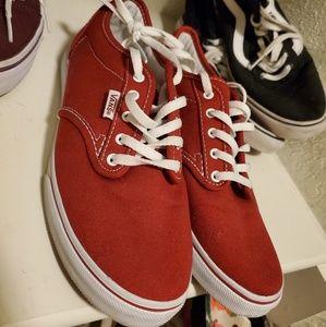 Vans red low tops